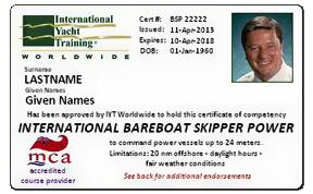 international bareboat skipper - права яхтенного капитана